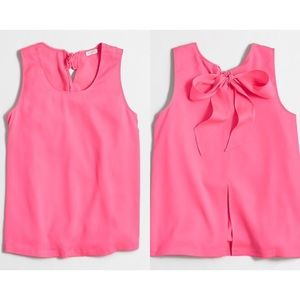 J. Crew Factory Bow Back Top Neon Pink Tank Blouse